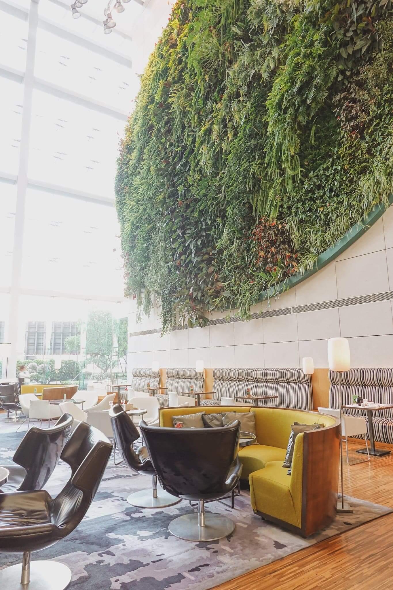 GREEN擁有亞洲最大室內垂直花園,環境充滿綠意。