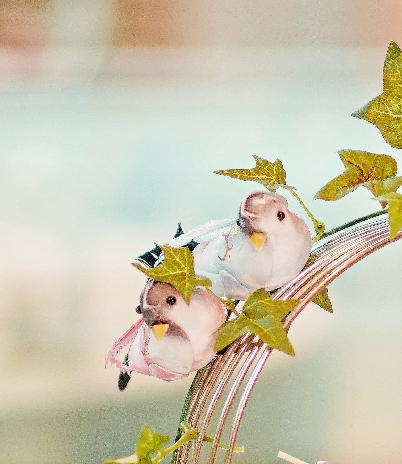 在三層架上嘅鳥兒裝飾,更突顯休閒感。
