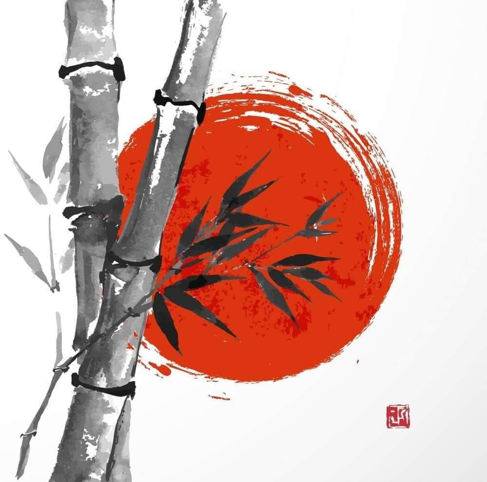 歌川國丸筆下嘅《竹與旭日》係佢少有嘅風景插畫。