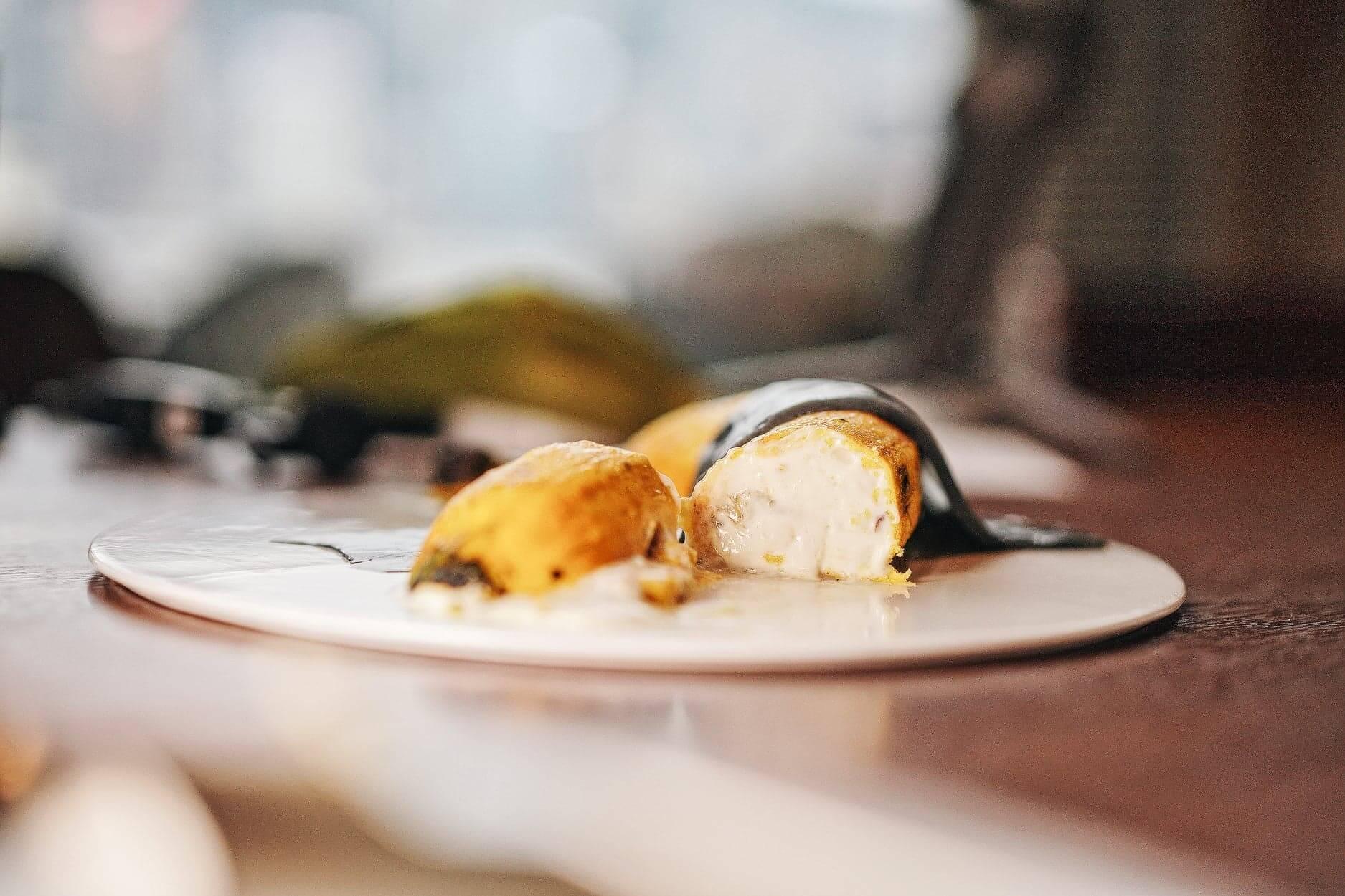 甜品內有粒粒蕉肉,好有咬口。
