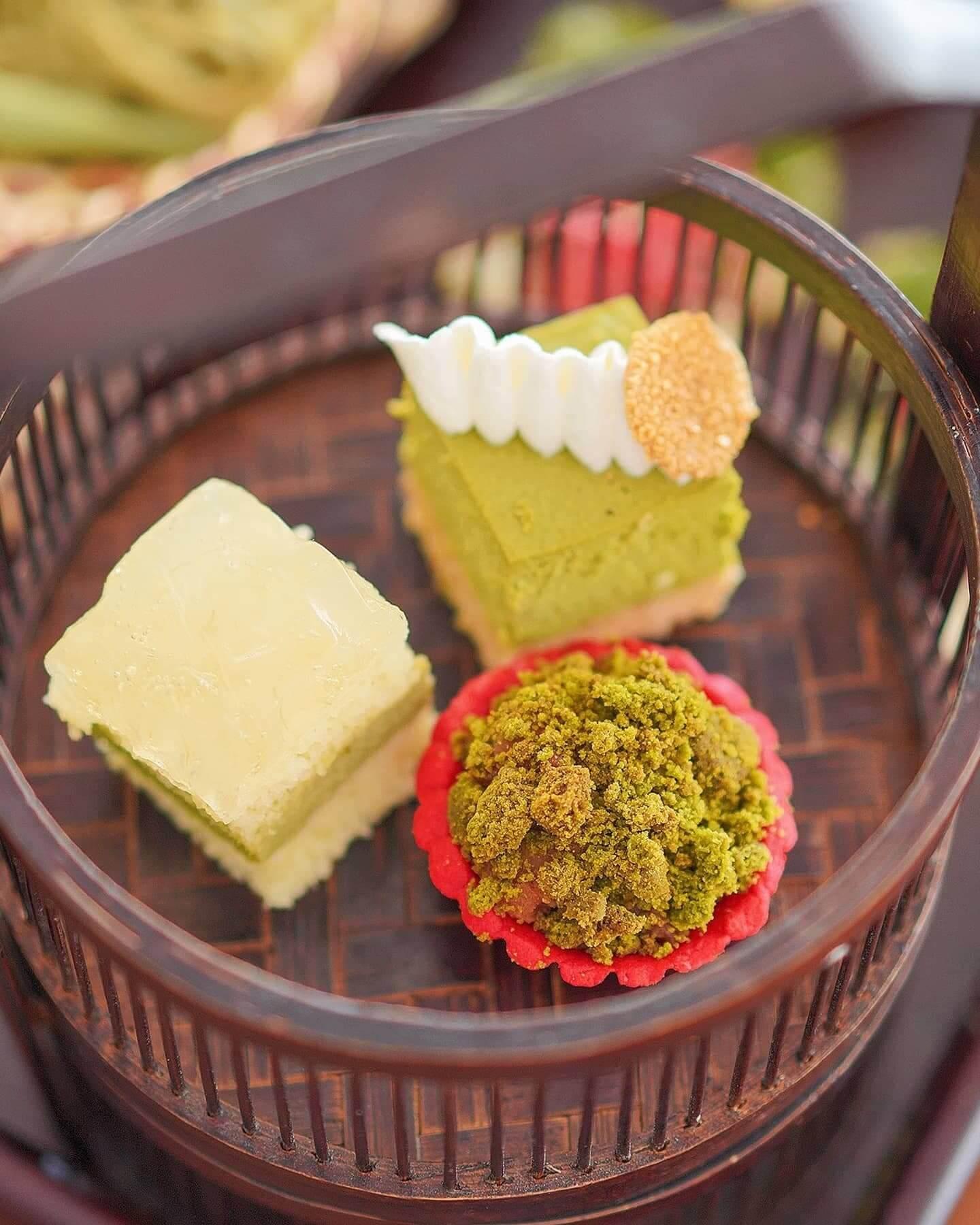 北海道綠茶奶凍配紅豆、京都綠茶白朱古力蘆薈啫喱海綿蛋糕、焗綠茶芝士餅