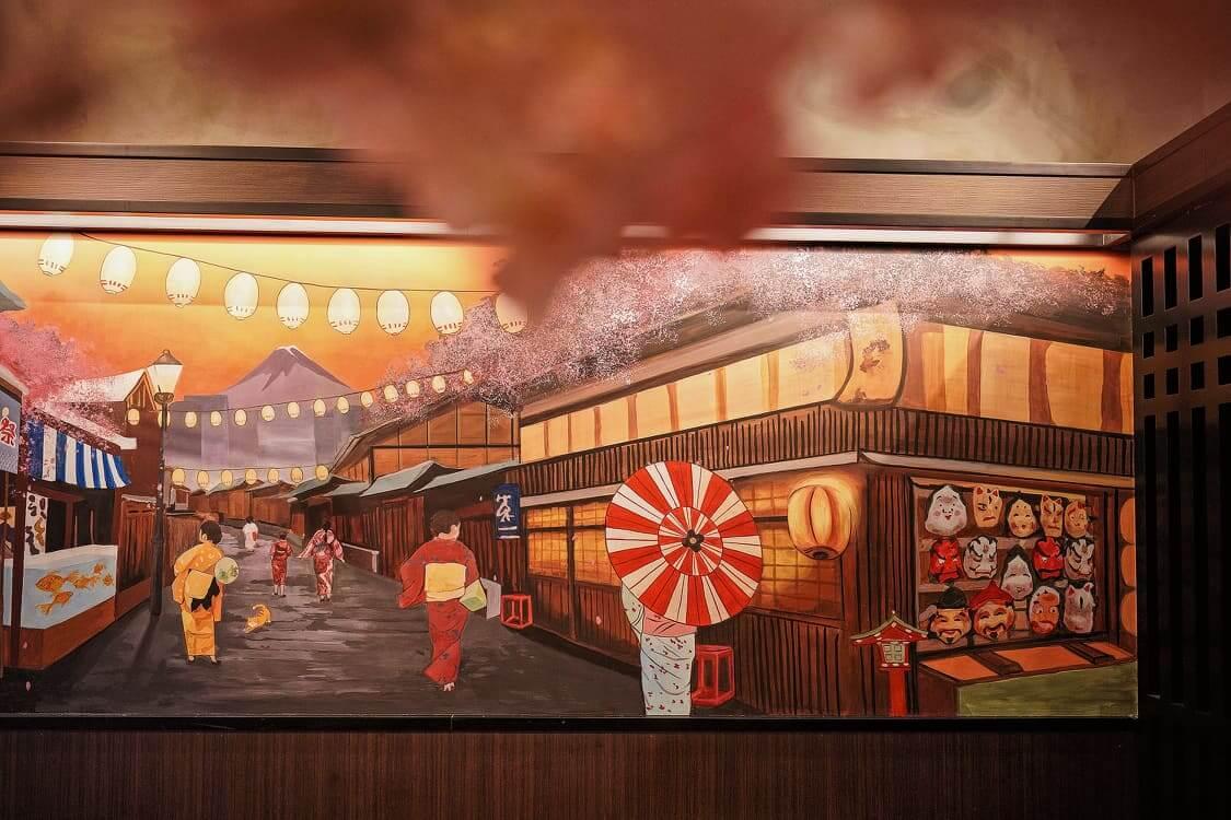 江戶祭典主題壁畫。